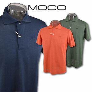 30%OFF【モコ MOCO】メンズ 半袖ポロシャツ M(48) オレンジ 212181440-35 ゴルフ カジュアル 吸汗速乾 UVカット 日本製 上質