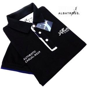 L寸◆アルバトロスの半袖ポロシャツ◆こだわりの背当て・衿裏ロゴ柄◆「クタヨレ」しにくい太パイピング襟ぐり。7232-6608◆49ブラック