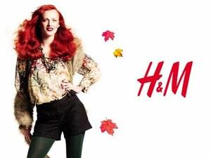 ● 広告連載 H&M 長袖 ブラウス スモック チュニック 花柄 新品 38 M モデル着用 ボタン 伸び縮み ゴムシャーリング 素敵 カラフル