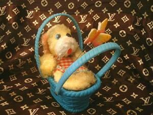 ◆昭和レトロ かごに入った犬 ちょうちょ ゼンマイ おもちゃ