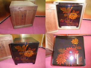 AKa5323◆隼◆八雲塗 重箱 木箱サイズ:約 23.5cm×約 23cm×約 25.5cm 旧家蔵出骨董初だし