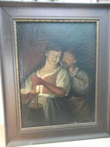 油絵 g・HOM ゲオルク・ホンハム 赤いベストの母と子