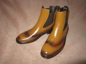 新品 ウイングチップ サイドゴア ビジネス 革靴風 雨 レインブーツ 茶 L