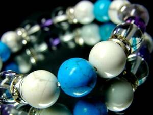 Turquoise White Turquoise Crystal 10 mm Purple Crystal 8 mm