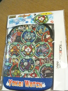 ◆送料無料◆任天堂 new 3DSLL 対応 ソフトポーチ 妖怪ウォッチ★柔らかくてクッション性のあるネオプレーン素材★ メダル柄青