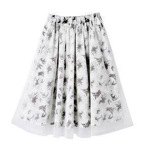 新品 6458円*PJ ピーチジョン PEACH JOHN*フラワーチュールスカート/ミモレ丈 フレアスカート Mサイズ~Lサイズ ホワイト白 花柄