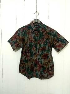 美品 DOUBLE STEAL BLACK ダブルスティール ボタニカル柄 半袖シャツ M アロハシャツ 刺繍 花柄 総柄 ストリート