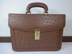【高級バッグ】本物 オーストリッチ ビジネスバッグ 茶