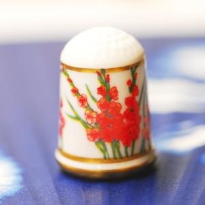 ◆米国フランクリン・ミント社製シンブル(指貫)◆グラジオラス 花