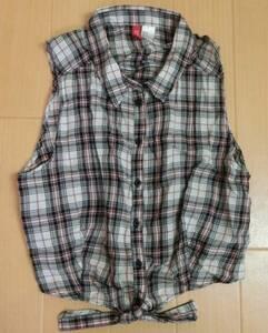 値下げ☆H&M☆ノースリーブチェックシャツ EUR38 マリンスタイル 試着のみ