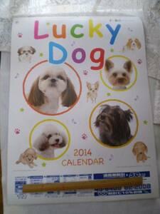 ◆訳あり◆2014年/壁掛けカレンダー《Lucky Dog》わんこ・犬