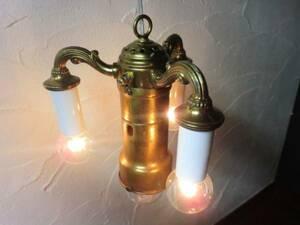 USAヴィンテージ4灯ペンダントランプ♪カフェ照明スチームパンク海外アンティーク米国真鍮レトロ男前インダストリアルスポットライト骨董品