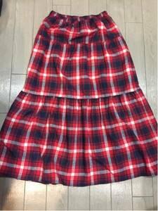 ♪アズノウアズ ロングスカート 赤系 チェック柄 ウエストゴム♪