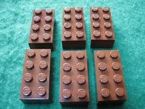 ☆レゴ-LEGO★3001★基本ブロック[茶]2x4★6個★新品★他にも色々出品中