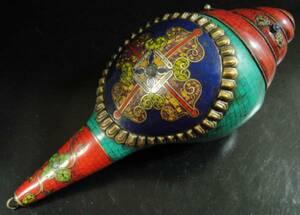 ◆チベット密教法具 法螺貝(シャンカ)羯磨(カツマ) M1