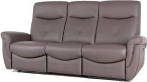 三人掛けソファー 送料無料 電動リクライニングチェア ハイバック イタリア製本革 本皮 ダークブラウン 420 3P 448