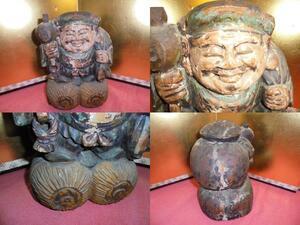 AKa4877◆隼◆古い木彫 仏像 大黒天 高さ 約 28cm 旧家蔵出骨董初だし