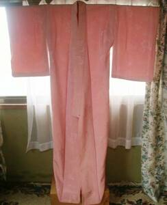 正絹 色無地 袷着物 ピンク 薔薇