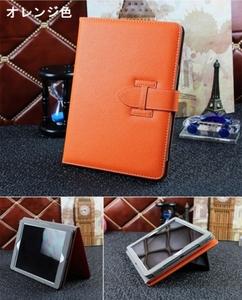 ipad mini4ケース 手帳型 ハンドストラップ付き オレンジ色