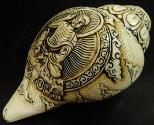 ◆チベット密教法具 法螺貝(シャンカ)ミラレパ
