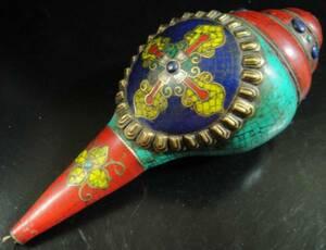 ◆チベット密教法具 法螺貝(シャンカ)羯磨(カツマ)-3