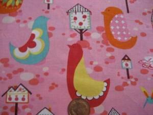 ▲ピンク地 小鳥 ハウス 小鳥の巣箱 POP柄