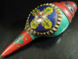 ◆チベット密教法具 法螺貝(シャンカ)羯磨(カツマ)-4