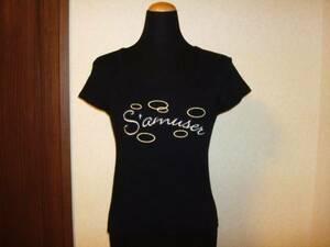 美品KUMIKYOKU組曲 黒スタッズ半袖Tシャツ カットソー2号M38