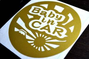 c*Baby in CAR! baby car sticker 10cm size * Mt Fuji + asahi day flag _ Japanese style peace pattern lovely original seal baby car ....