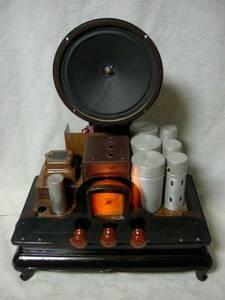 アンティーク & アート !! 外装自作 整備済み 完動品 メーカー不明 オールド 真空管 ラジオ