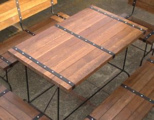 ガーデンテーブル ダイニングテーブル 【男前インダストリアルなグランピング家具】 アイアン&ウッド