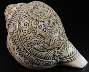 ◆チベット密教法具 法螺貝(シャンカ)龍神