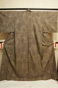 特選本場奄美大島紬茶泥一元7マルキ幾何柄模様未着用T9553