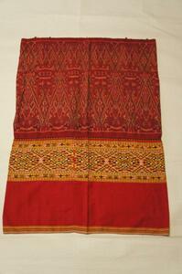 特選希小品ラオス絹絣木綿浮織筒型スカートE4815