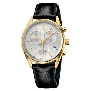 箱ボロ・BOX訳あり 新品 即納 カルバンクライン 時計 メンズ 腕時計 フォーマリティ クロノグラフ 43mm ゴールド ブラック レザー K4M275C6