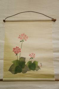 新品羅工房麻手描『桜草』タペストリーE4712
