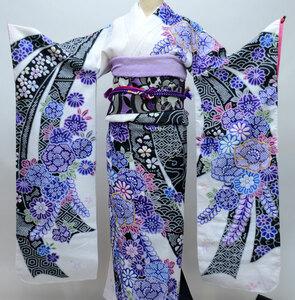 振袖 単品 合繊 生地は日本製 総絞り 金刺繍 仕立て上がり 新品 (株)安田屋