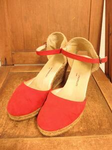スペイン製 GAIMO ESPADRILLES 本革 スエード レザー 切替 編込 ウェッジソール ヒール サンダル 靴 36 レッド 赤 レディース SFA1807-104