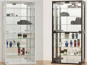 【シンプル】ガラス・コレクションケース◆飾り棚キャビネット陳列ケースW&B