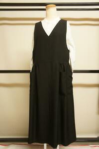 新品正絹黒無地オリジナルエプロンドレスフリーサイズE9175