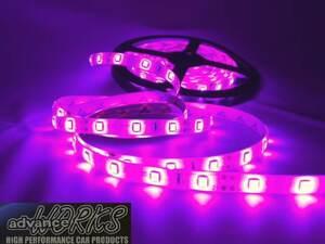 ●ピンク60センチLEDチューブライト 防水 12V車用 5センチごとにカット可能!3M両面テープ付 バイクアンダーネオン 室内灯 ドアランプに