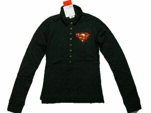 サディスティックアクション SADISTIC ACTION スーパーマン レディース長袖ポロシャツ ブラックxゴールド 新品