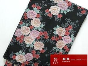 きもの 洗える 着物 単衣 リョウコ キクチ 黒 花 赤 ピンク Lサイズ 382