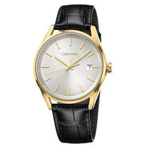 箱ボロ・BOX訳あり 新品 即納 カルバンクライン 時計 メンズ 腕時計 FORMALITY ゴールド シルバー文字盤 ブラックレザー K4M215C6 シンプル