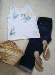 ◆ BEAMS BOY ビームスボーイ 花刺繍飾り タンクトップ ◆