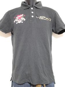 エドハーディー ed hardy メンズ半袖ポロシャツ 黒 Sサイズ USED ブラック