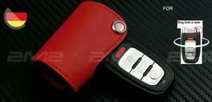 即納 本革キーケース 赤_Audi アウディ A1 A3 A4 A5 A6 A7 A8 Q3 Q5 Q7 TT S1 S3 S4 S5 S6 RS3 RS4 RS5 RS6 R8等 サイドホール