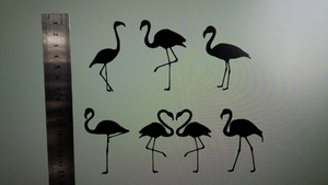 cutting sheet flamingo Silhouette seal {6 pieces set }