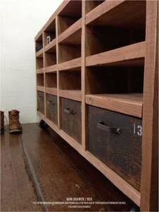 シェルフ アイアン 収納棚 4杯引出 テレビボード チェスト