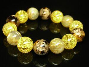 高級天然石 金彫龍タイガーアイ×シトリンクラック×ゴールドルチルブレスレット 金運数珠 14ミリ